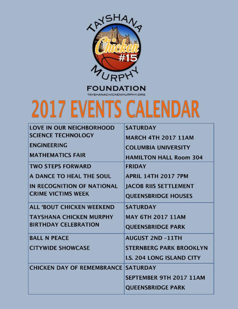 2017 Events Calendar Tayshana Chicken Murphy Foundation v2