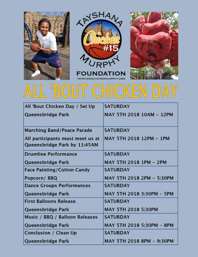 2018 All Bout Chicken Day Itinerary Tayshana Chicken Murphy Foundation