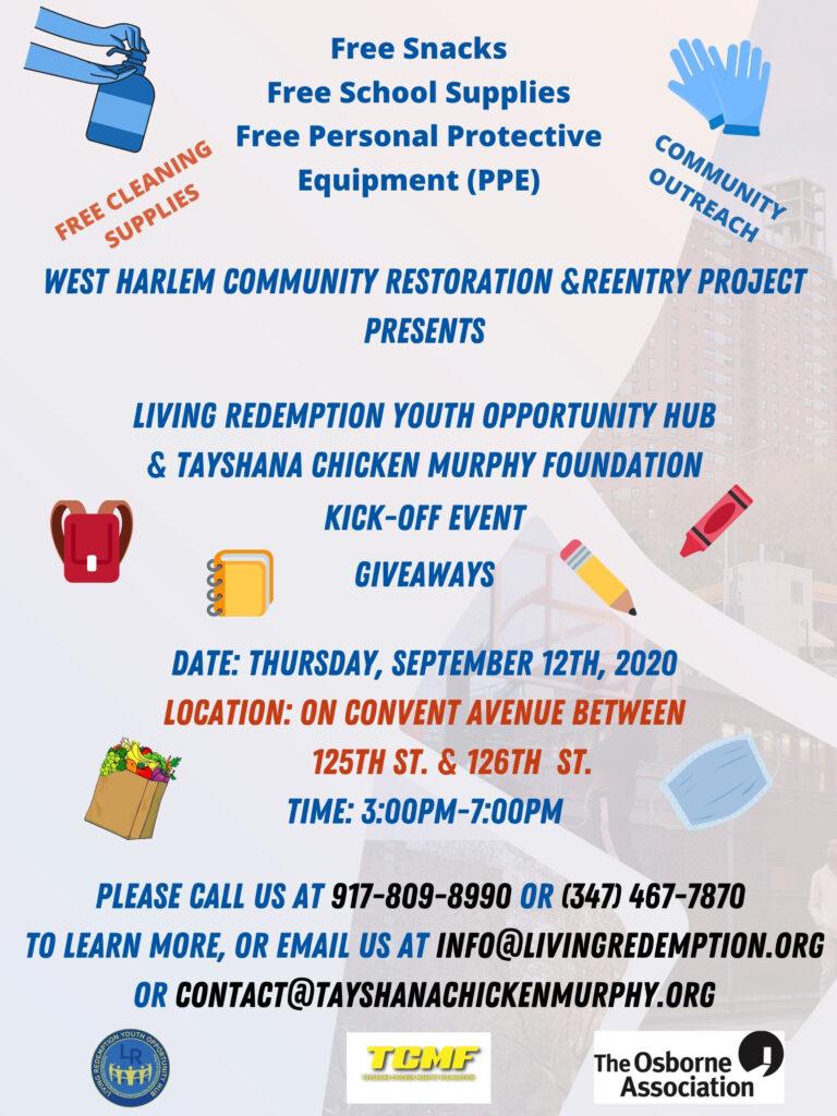 TCMF LIVING REDEMPTION OSBORNE WHCRRP Kick Off Event September 12th